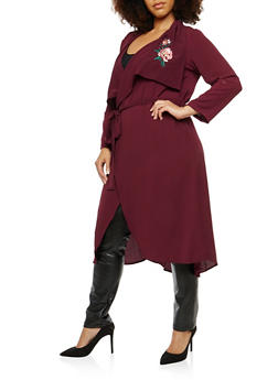 Plus Size Crepe Knit Floral Embroidered Duster - 1932069392579