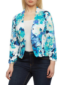 Plus Size Floral Print Blazer With Ruched Sleeves,NAVY,medium