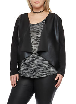 Plus Size Cardigan with Faux Leather Paneling - 1932070470117