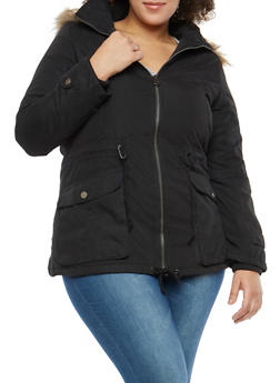 Plus Size Faux Fur Lined Anorak Jacket - 1932074431051