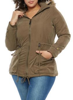 Plus Size Faux Fur Lined Anorak Jacket - 1932074431051