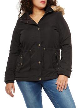 Plus Size Faux Fur Lined Anorak Jacket - 1932074431053