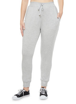 Plus Size Heathered Plus Size Joggers With Two Mesh Pockets and Drawstring - 1951001441012