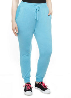 Plus Size Joggers With Two Mesh Pockets and Drawstring - 1951001441206