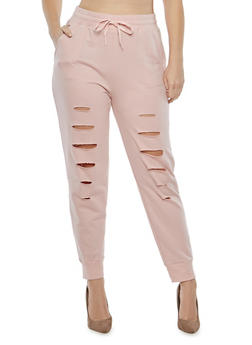 Plus Size Slashed French Terry Sweatpants - 1951001441696