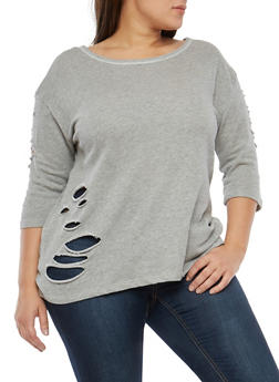 Plus Size Distressed High Low Sweatshirt - 1951001441699