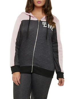 Plus Size Zip Hoodie with Super Love Graphic - 1951038340003