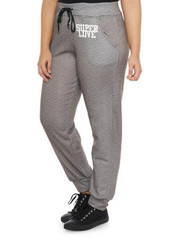 Plus Size Marled Joggers with Super Love Graphic - 1951038340004