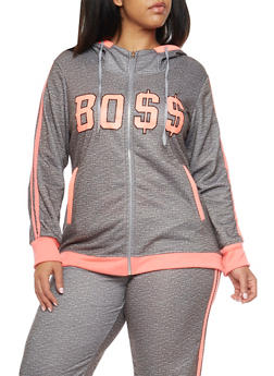 Plus Size Boss Graphic Hoodie - 1951038340005