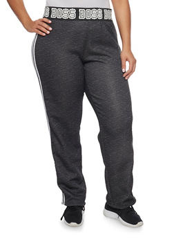 Plus Size Striped Sweatpants with Boss Print - 1951038340006