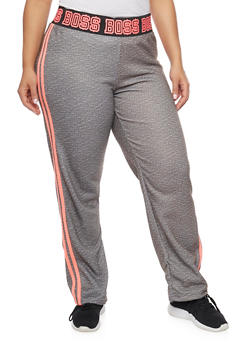 Plus Size Striped Boss Print Sweatpants - 1951038340006