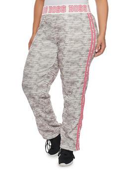 Plus Size Striped Boss Print Sweatpants - 1951038340006