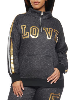 Plus Size Sweatshirt with Love Graphic - 1951038340007