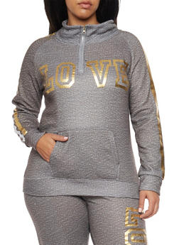 Plus Size Love Graphic Sweatshirt - 1951038340007