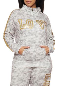 Plus Size Love Graphic Sweatshirt - 1951038340007