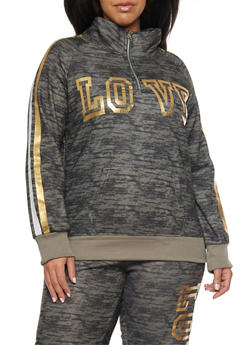 Plus Size Sweatshirt with Love Graphic - OLIVE - 1951038340007