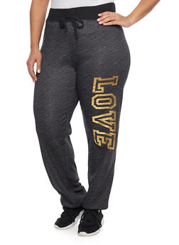 Plus Size Love Graphic Joggers - 1951038340008
