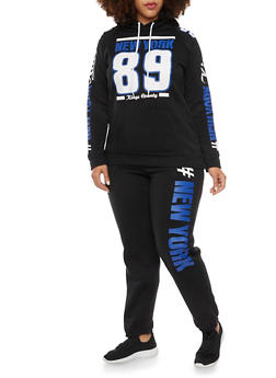 Plus Size Hoodie with New York 89 Graphic - 1951038340009