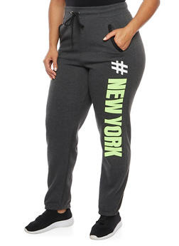 Plus Size New York Print Sweatpants - 1951038340010