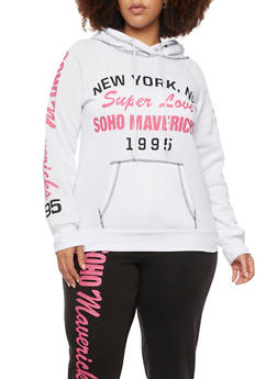 Plus Size Hoodie with Sporty Graphics - 1951038340011