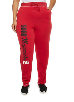 Plus Size Sweatpants with Sporty Graphics - 1951038340012