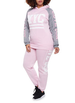 Plus Size Hoodie with NYC Graphic - 1951038340013