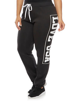 Plus Size Sweatpants with Love USA Print - 1951038340014