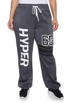 Plus Size Sweatpants with Hyper Love Graphic - 1951038340016