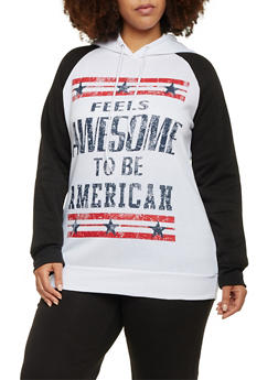 Plus Size Patriotic Graphic Hoodie - 1951038340017