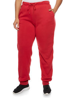 Plus Size Joggers with Fleece Lining - 1951038340018