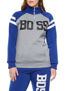 Plus Size Zip Neck Fleece Top with Boss Graphic - 1951038340019