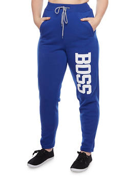 Plus Size Graphic Joggers with Boss Print - 1951038340020
