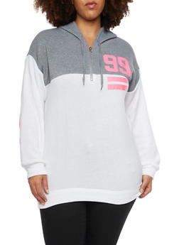 Plus Size Graphic Hoodie with 99 Print - 1951038340021