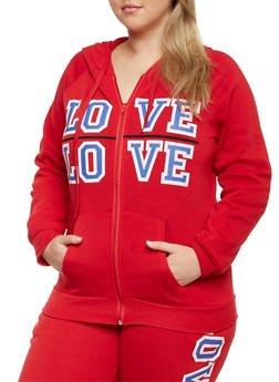 Plus Size Zip Front Hoodie with Love Print - 1951038340023