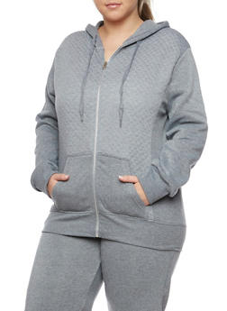 Plus Size Quilted Hoodie with Zip Front - 1951038340040