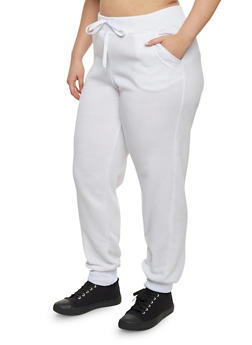 Plus Size Joggers with Quilted Pockets - 1951038340041