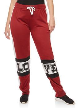 Plus Size Love Graphic Color Block Sweatpants - 1951038340042