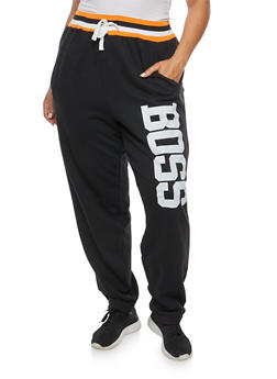 Plus Size Boss Graphic Sweatpants - 1951038340044
