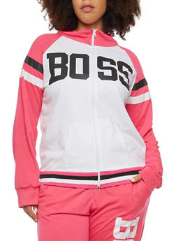 Plus Size Boss Graphic Zip Up Sweatshirt - 1951038340045
