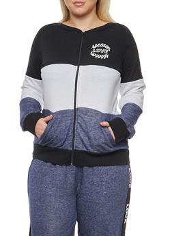 Plus Size Color Block Zip Front Sweatshirt - 1951038340047
