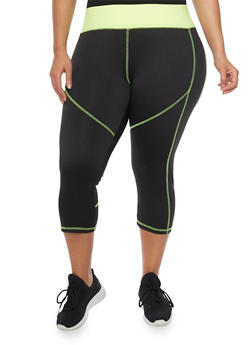 Plus Size High Waisted Activewear Capri Leggings - 1951038340049