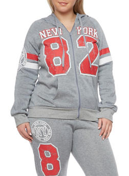 Plus Size Zip Front Hoodie with New York Graphics - 1951038340071