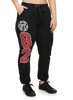 Plus Size Joggers with New York Graphics - 1951038340072