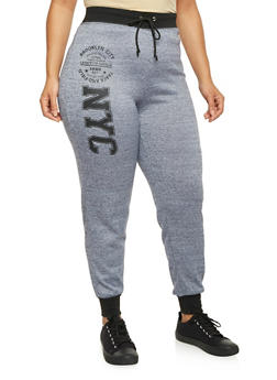 Plus Size Joggers with Brooklyn Graphic - 1951038340516