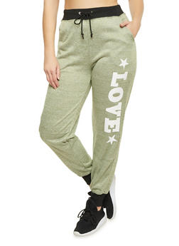 Plus Size Heathered Love Graphic Joggers - 1951038340517