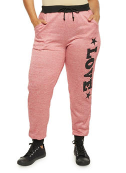 Plus Size Heathered Joggers with Love Graphic - BURGUNDY - 1951038340517