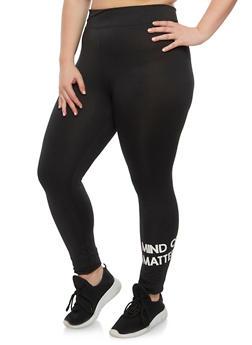 Plus Size Mind Over Matter Graphic Athletic Leggings - BLACK - 1951038340709