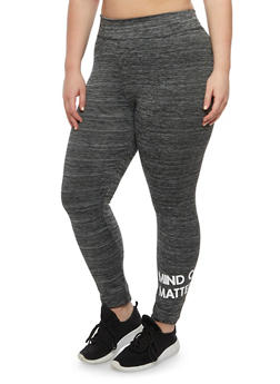 Plus Size Mind Over Matter Graphic Athletic Leggings - 1951038340709
