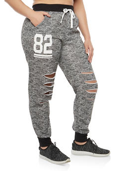 Plus Size Marled Graphic Sweatpants - 1951038340713