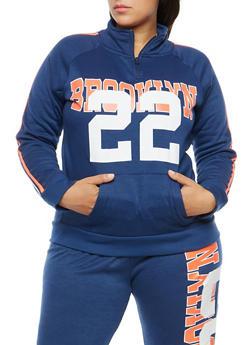 Plus Size Brooklyn Graphic Fleece Sweatshirt - 1951038340716
